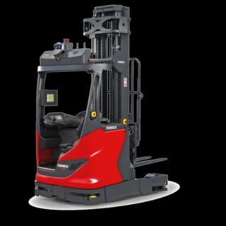Le chariot à mât rétractable autonome R-Matic de Fenwick transporte et entrepose à une hauteur de jusqu'à plus de onze mètres des marchandises allant jusqu'à 1600kg.