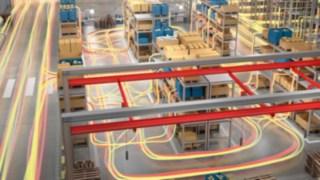 Déplacements de flux de marchandises dans un entrepôt