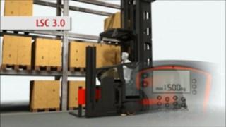 Animation montrant le fonctionnement du Linde System Control (LSC) disponible en option pour les chariots pour allées étroites (VNA) Fenwick.
