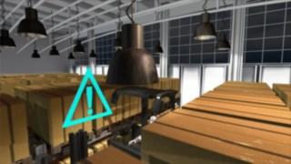 L'animation présente la fonctionnalité de l'Assistant de Sécurité en Allée en option pour les chariots pour allées étroites (VNA) Fenwick.