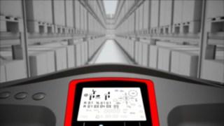 Animation relative au système de navigation allées étroites disponible en option pour le préparateur de commandes en hauteur V Fenwick.
