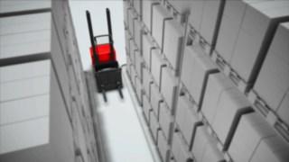 Animation illustrant l'Assistant de Sécurité en Allée disponible en option pour le préparateur de commandes en hauteur V Fenwick.